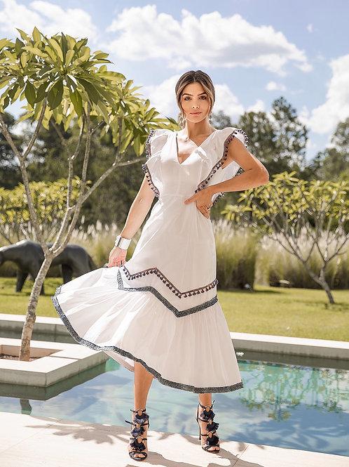 Vestido Marrô Branco Midi