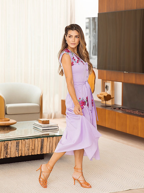 Vestido Marrô Midi Aplicação Flores