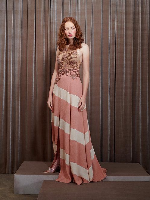 Vestido M.Rodarte Bicolor Texturizado