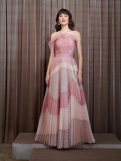 Vestido M.Rodarte Organza Plissada Recortes