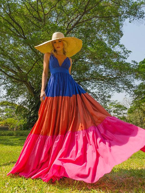 Vestido M.Rodarte Tricolor Voil Algodão