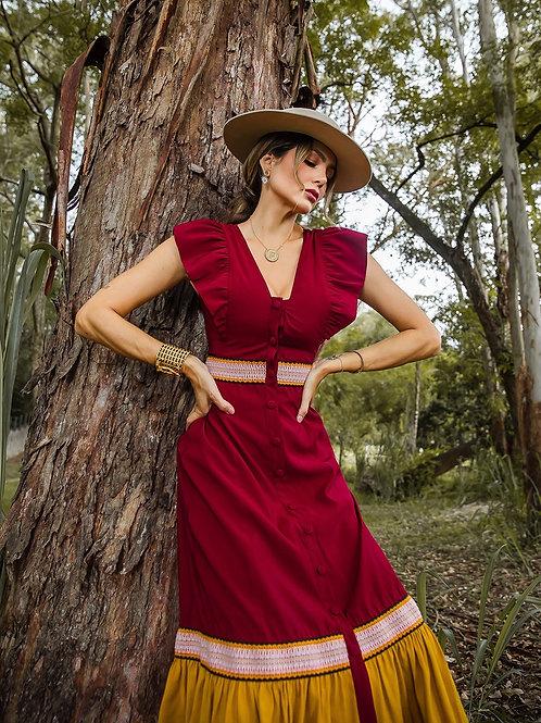 Vestido Marrô Bicolor Manga Curta