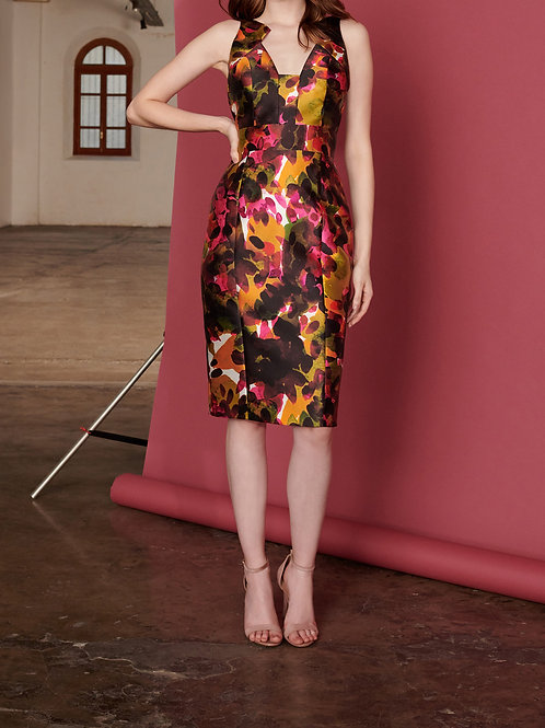 Vestido Marrô Midi Decote Geométrico