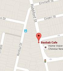 Map of Baobab cafe.