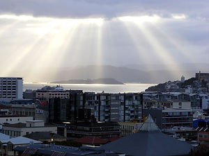 Fingers of light over Wellington.