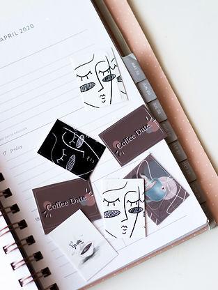 Bullet Journal Kalender Sticker mit LineArt motiven, Coffee date, decoration