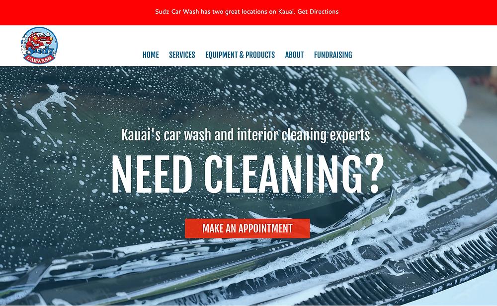 Image of Sudz Car Wash Kauai homepage