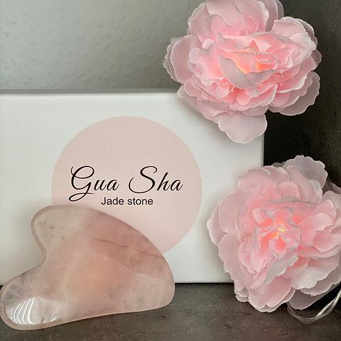 Gua Sha Stein Rosenquarz & Jade