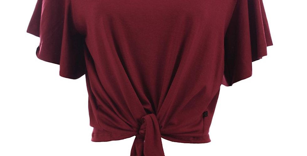 Frente da Blusa Feminina Cropped Vermelho