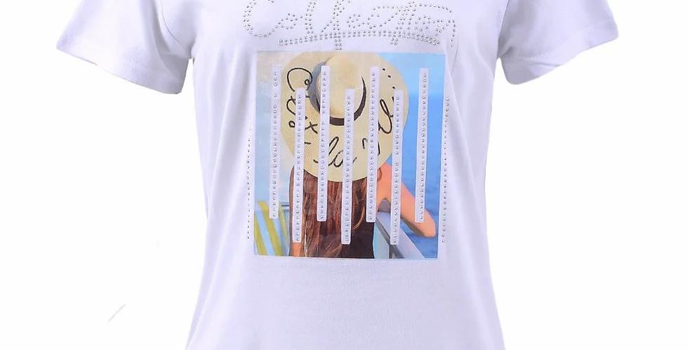 Camiseta Feminina Baby Look Estampa Frontal Com Pedrarias