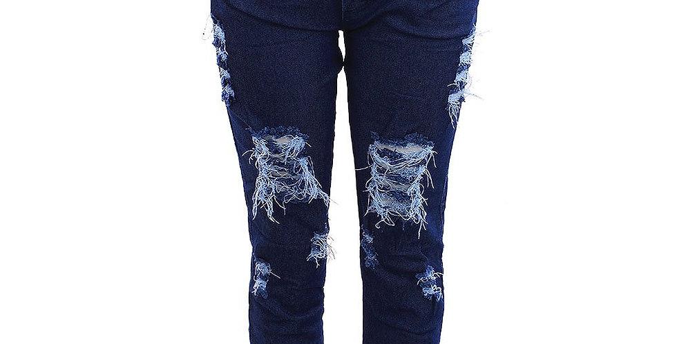 Frente da Calça Jeans Escura Feminina Jogger Cintura Alta
