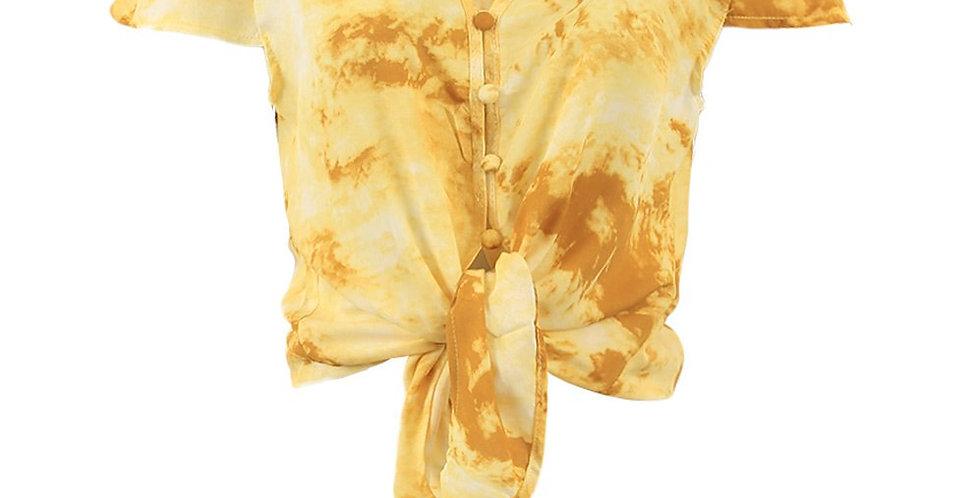 Frente da Blusa Cropped Manchas Feminino