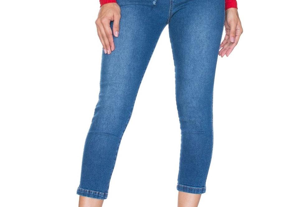 Frente da Cropped Jeans Com Ribana e Elástico No Cós