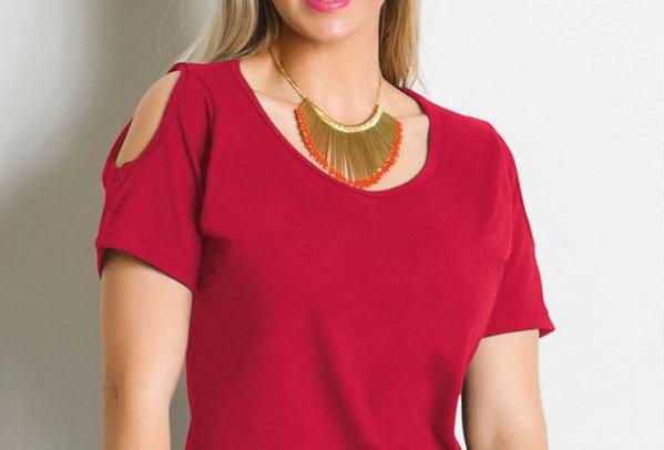 Frente da Blusa Dinaira Vermelho