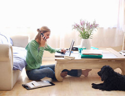 Work from home casual with dog