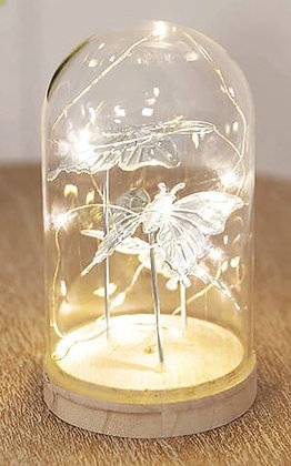 Light Up Glass Dome Butterfly