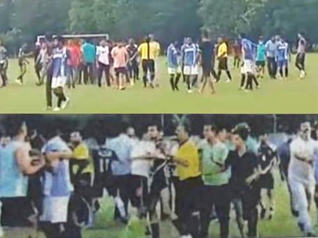मुख्यमंत्री आवास के सामने हो रहे फुटबॉल टूर्नामेंट में हुई खिलाडियों की पिटाई