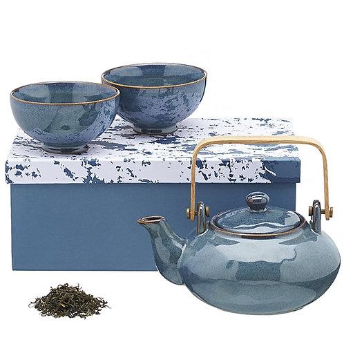 Aardewerk theeservies blauw - 1stuk