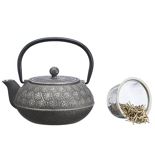 Chinese gietijzeren theepot in grijs (500cc) - 1stuk