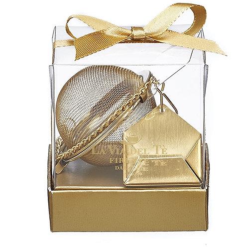 Thee ei met enveloppe in goudkleurig rvs, in geschenkverpakking - 6stuks