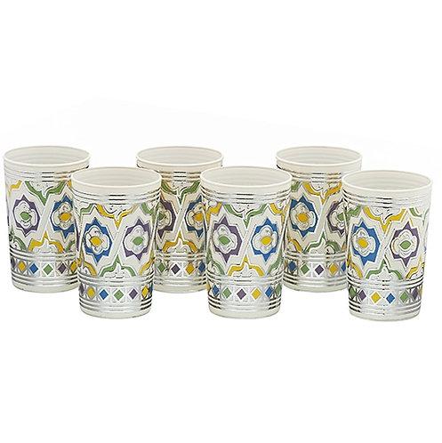 Maroccan artisinal teaglasses, Azulejo - 1set