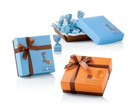 Chocoladetruffels in gekleurde bonbondoosjes - 6stuks
