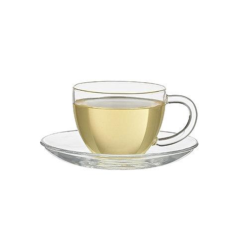Glass teacup with dish, 280cc - 1stuk
