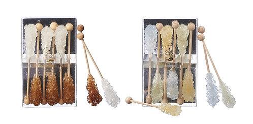 Rietsuiker kristallen, op een stokje - 12stuks