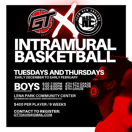 TWO club programs. ONE night. NINE weeks.  ​ Join us every week for Game Time Training's internal competitive program!  Players from GT Elite and TEAM New England will be mixed from each program by grade and will play inter-squad scrimmages once per week.  Mixed groups will be coached by TNE and GTE staff.   Integrating the two club programs will allow participants to play basketball in a safe and contained environment. Competition will be mixed and participants will be provided with a fun and unique basketball experience in the city.    TEAM New England is a Boston-based program out of Lena Park Community Center (Dorchester, MA), about 20-30 minutes from the Metrowest area.