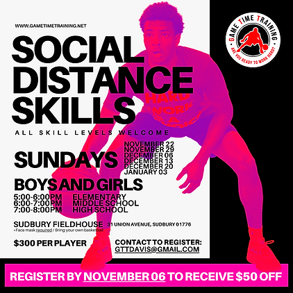 We will be offering a weekly Sunday Night Skills program for elementary, middle school, and high school boys and girls.  Each session will be capped at (20) players.   All participants and coaches will be masked, and social distancing guidelines will be followed. Participants will use their own ball and get a ton of weekly ball handling and shooting reps. ​ All skill levels welcome!