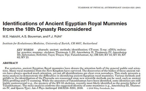 Identification Royal Mummies Ancient Egypt