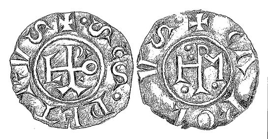 Coin Pope Leo III and Charlemagne (dated 800-814 AD)