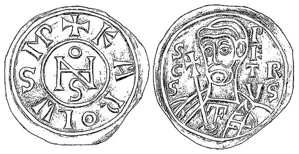 Coin of Pope John VIII and Charles the bald, dated after 875 AD