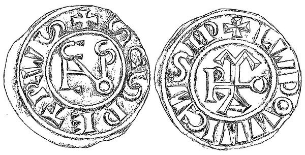 Coin of Pope Nicholas I and emperor Louis II
