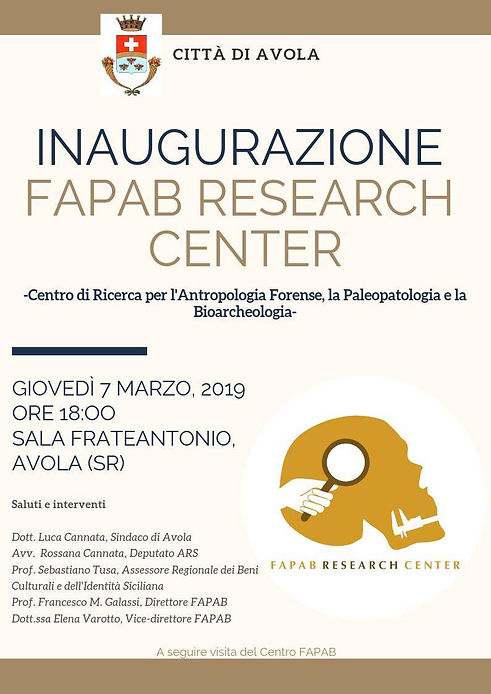 Francesco M. Galassi, Research Center Anthropology, Forensic, Paleopathology, Bioarchaeology FAPAB Avola Sicily