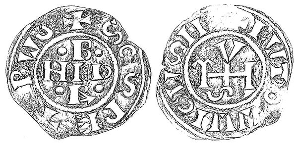 Coin Pope Benedict III and Louis II (dated 855 AD)