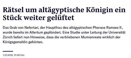 Neue Zürcher Zeitung: Nefertari