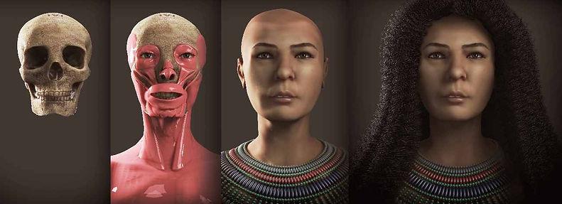 Mummy Cairo CG 61076 Baqt skull tissue final face reconstruction