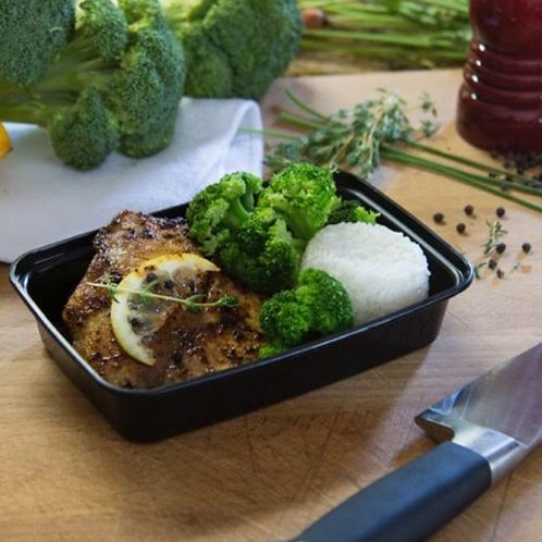 #1 - SEASON GRILLED FISH W/ RICE & BROCCOLI