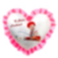 """Печать фото на подушке с розовой  оборкой, форма """"сердце"""""""