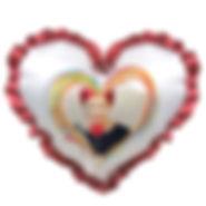 """Печать фото на подушке с голубой  оборкой, форма """"сердце"""""""