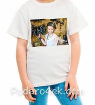 Печать фото на детской белой футболке
