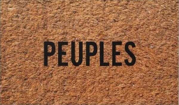 "Klaus Guingand artwork : ""Doormat Peuples"" : Real doormat with print people in French : 2002"