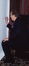 Danny Aiello signs his shadow (painting) in 1993