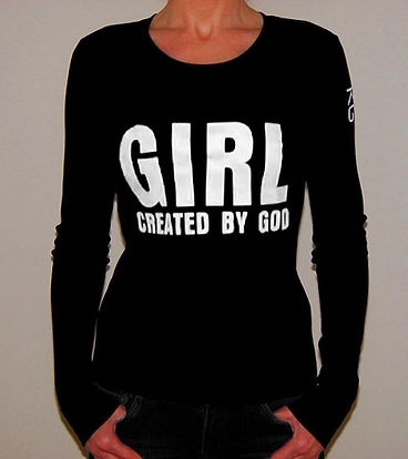 """Klaus Guingand T-shirt (woman) - """"Girl created by God"""""""