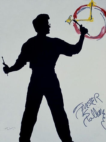 "Klaus Guingand Artwork ""Sylvester Stallone's shadow"" - 1991. +) Artwork done by Sylvester Stallone.  Acrylic on canvas 78 ¾ X 59 1/8 in. Signed by Klaus Guingand and Sylvester Stallone."