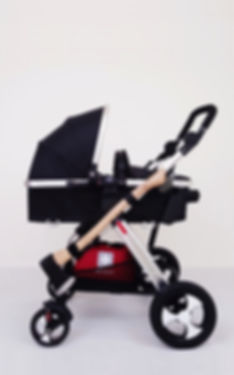 klaus Guingand artwork - 2020 - Walk to the park.(left side)- 2017. Baby stroller - kevlar interior and fireproof exterior. Interior whit a shielded insulating waterproof box. LED interior light.  Mini Uzi whit silencer, Glock 23. MK2, axe, tonfa, dagger, personal GPS tracker, first aid kit, flashlights. Hide four Uzy loaders and three Glock loaders.