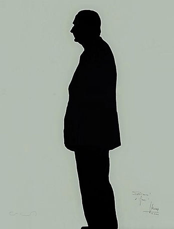 """Klaus Guingand Artwork """"Jacques Chirac's shadow"""" - 1995 Acrylic on canvas 78 ¾ X 59 1/8 in. Signed by Klaus Guingand and Jacques Chirac."""