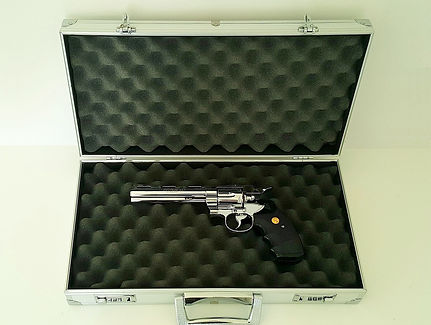 klaus Guingand artwork: Matthew 5.21- 2017. Gun box with Colt Pyhton 357 Magnum