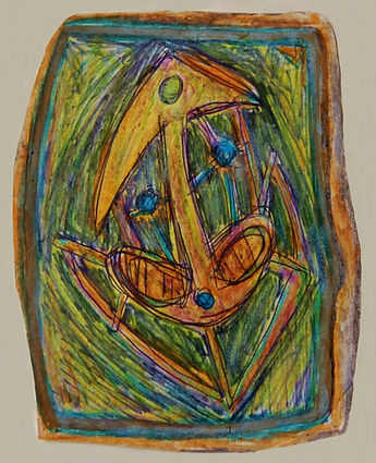 "Klaus Guingand artwork : ""Sans titre (2)"" : Drawing Bic and pastel: 3,93 x 2,75 in. :1976"